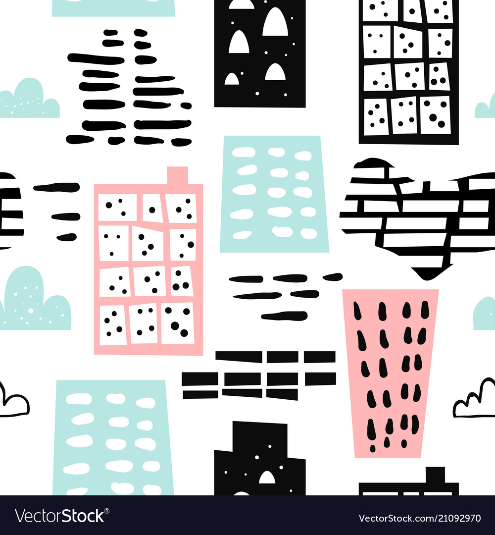 Abstract hand drawn seamless pattern vector image