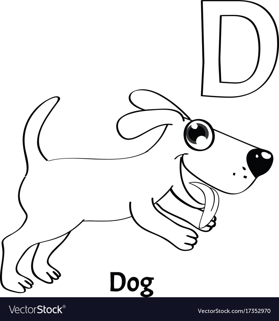 Alphabet letter d coloring page dog Royalty Free Vector