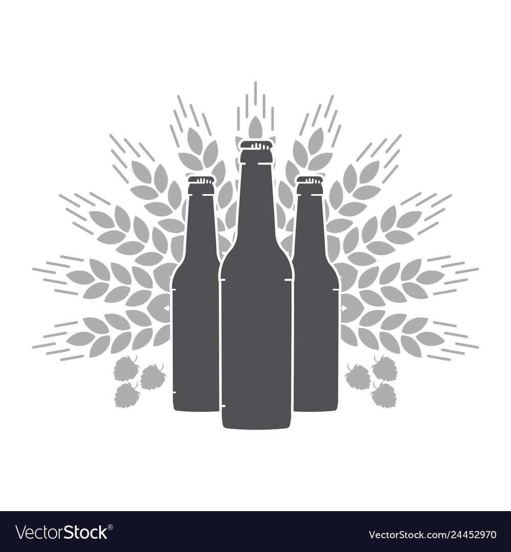 Beer bottles wheat ears and malt