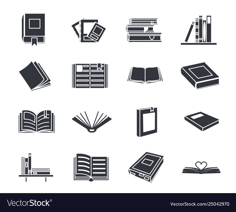 Book silhouette education reading icons set