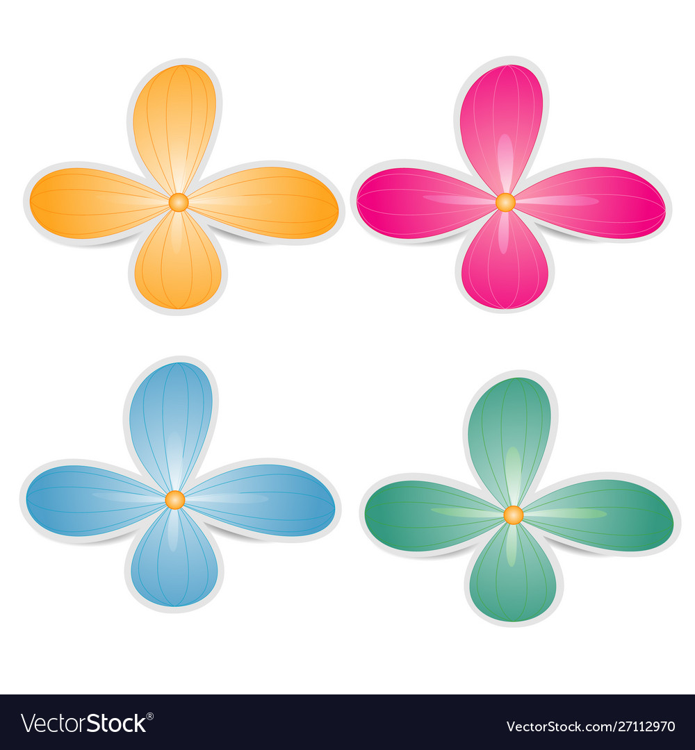 Bright colored paper flowers on a white background