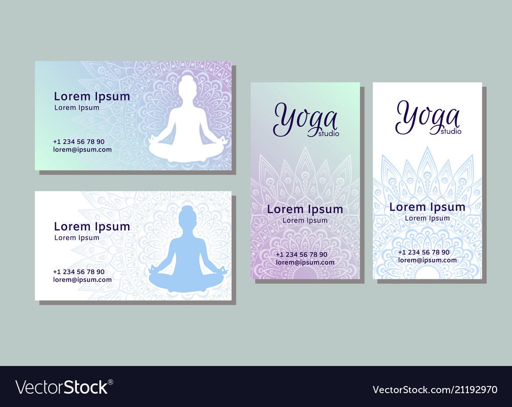 Business card templates for yoga studio royalty free vector business card templates for yoga studio vector image wajeb Images