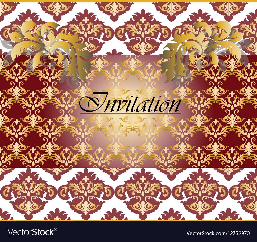 Classic Golden Floral Damask Invitation Card