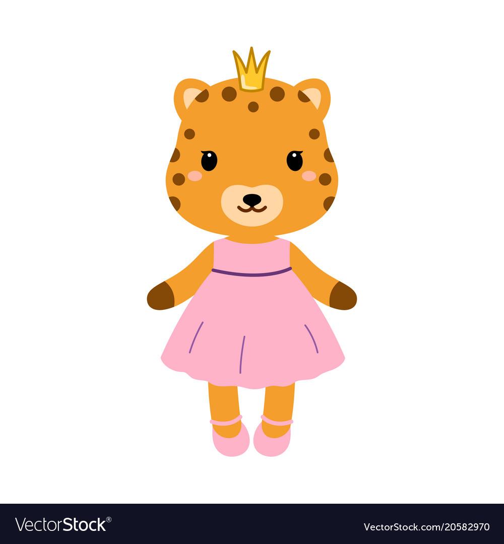Cute jaguar in dress in modern flat style