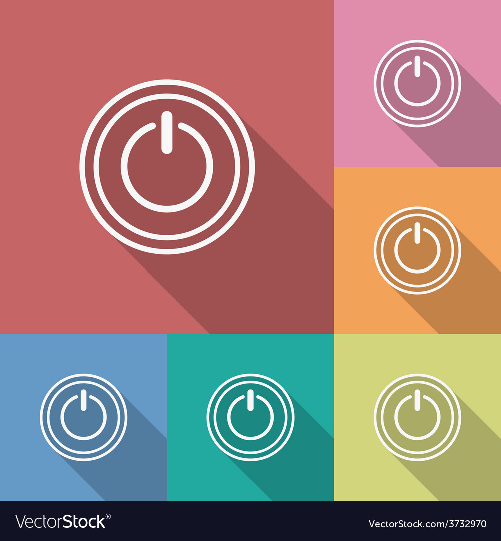 Icon of power button Flat style