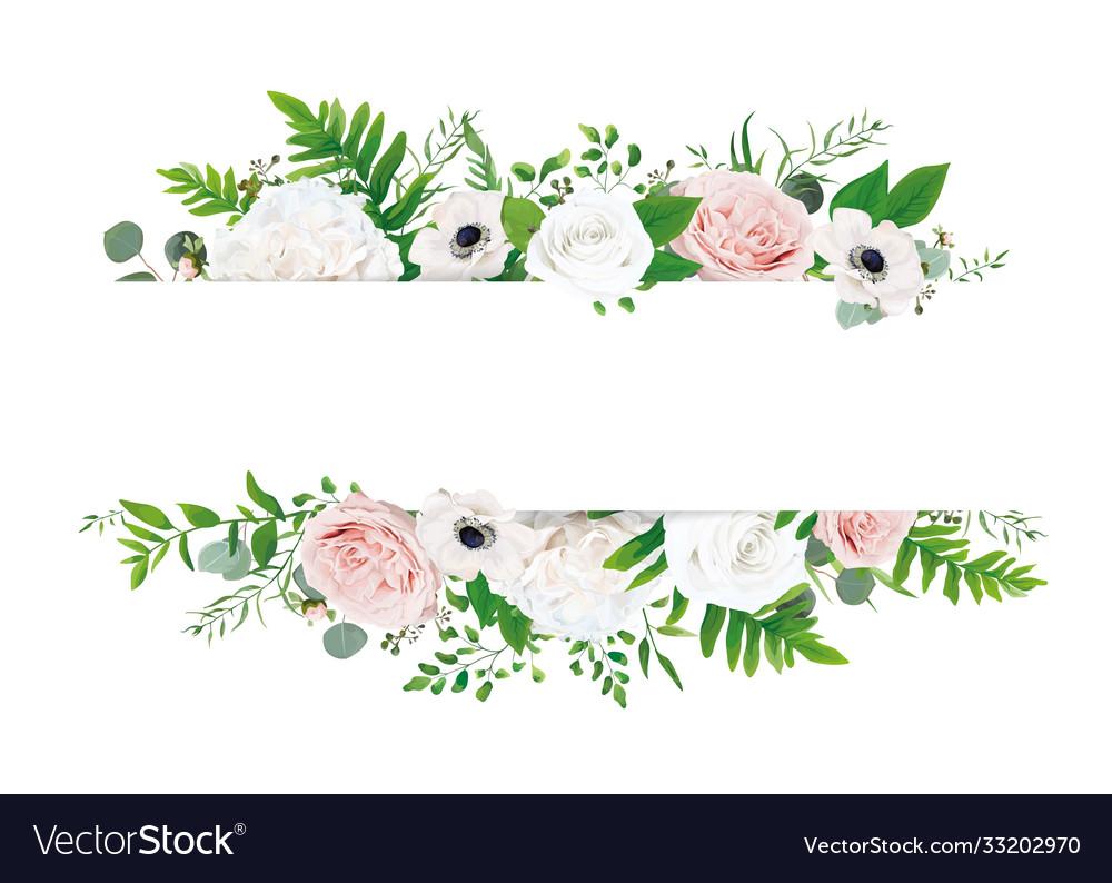 Ivory rose blush peach invite card floral border