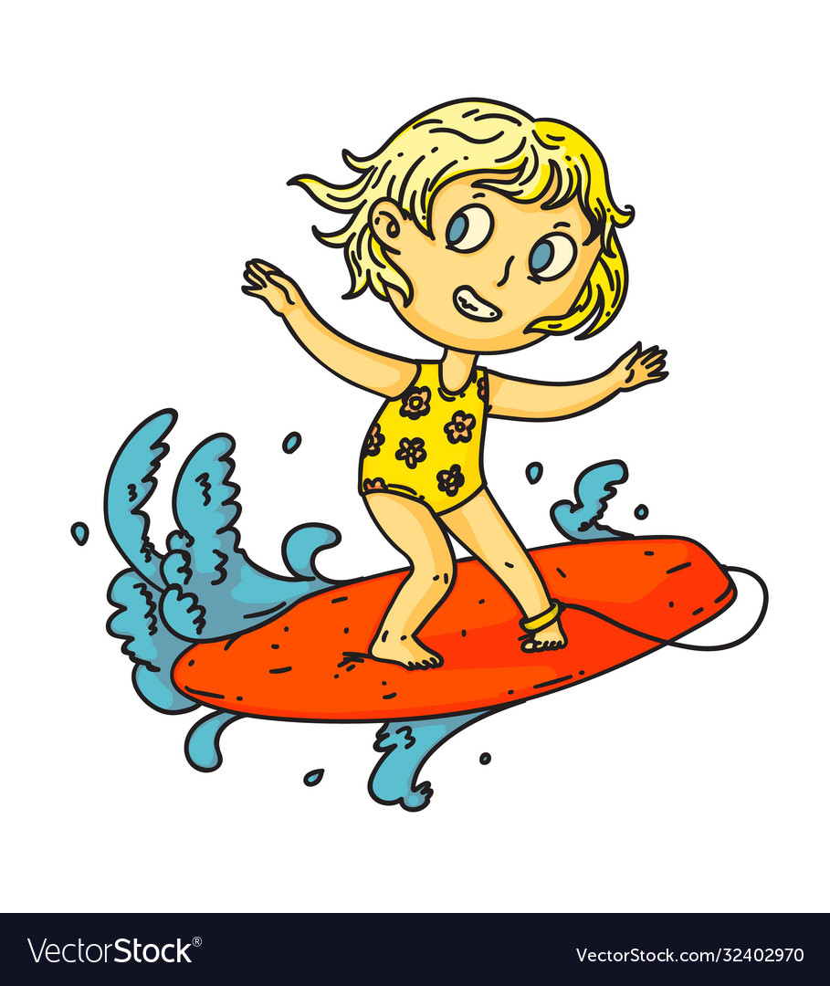 Kid surfing isolated child girl surfing