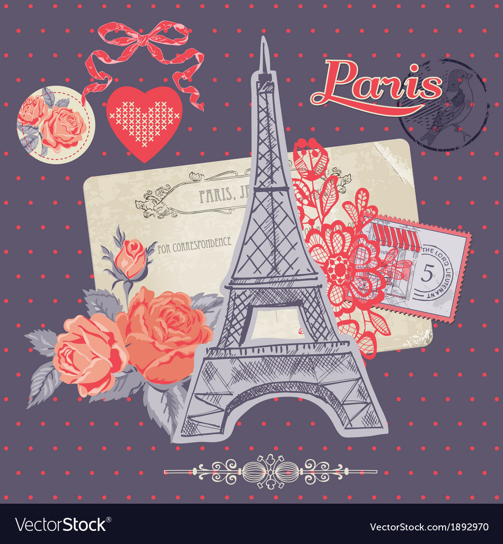 Scrapbook Design Elements - Paris Vintage Card