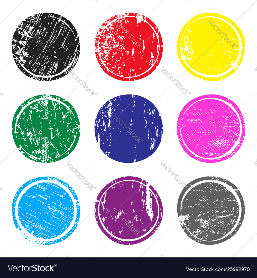 Set multicolored post stamps with grunge