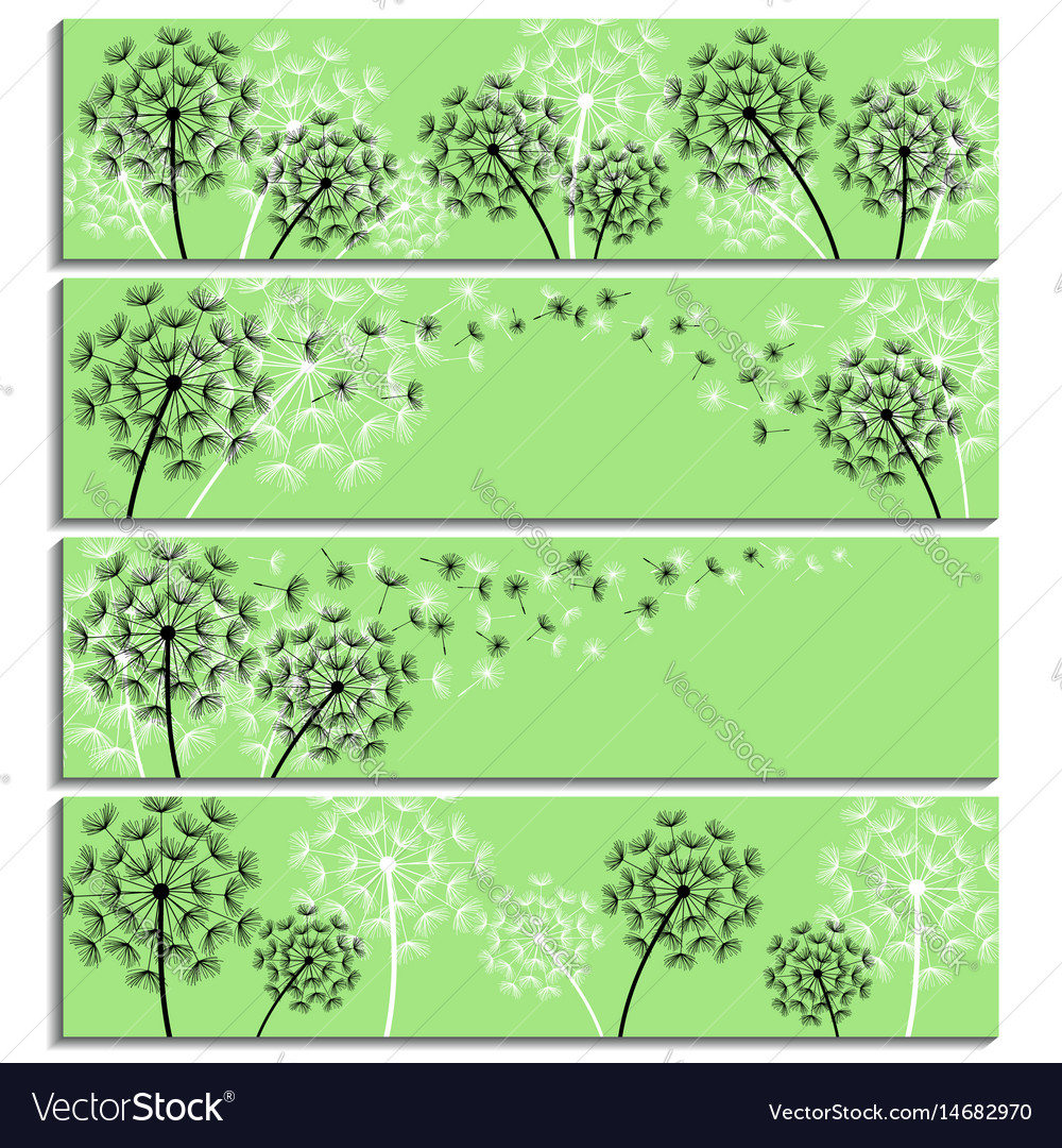 Set of horizontal green banner with dandelion