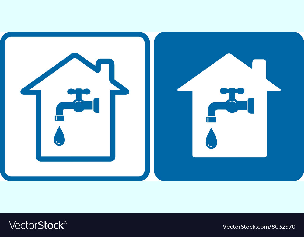 Set of house and water tap