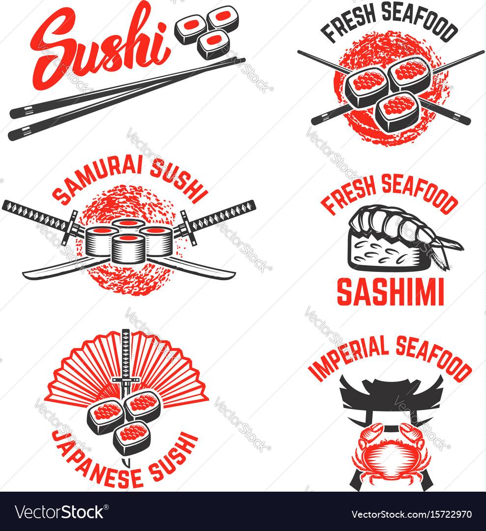 Set of sushi labels japanese seafood samurai