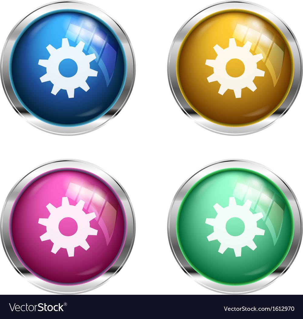 Settings cogwheel button vector image