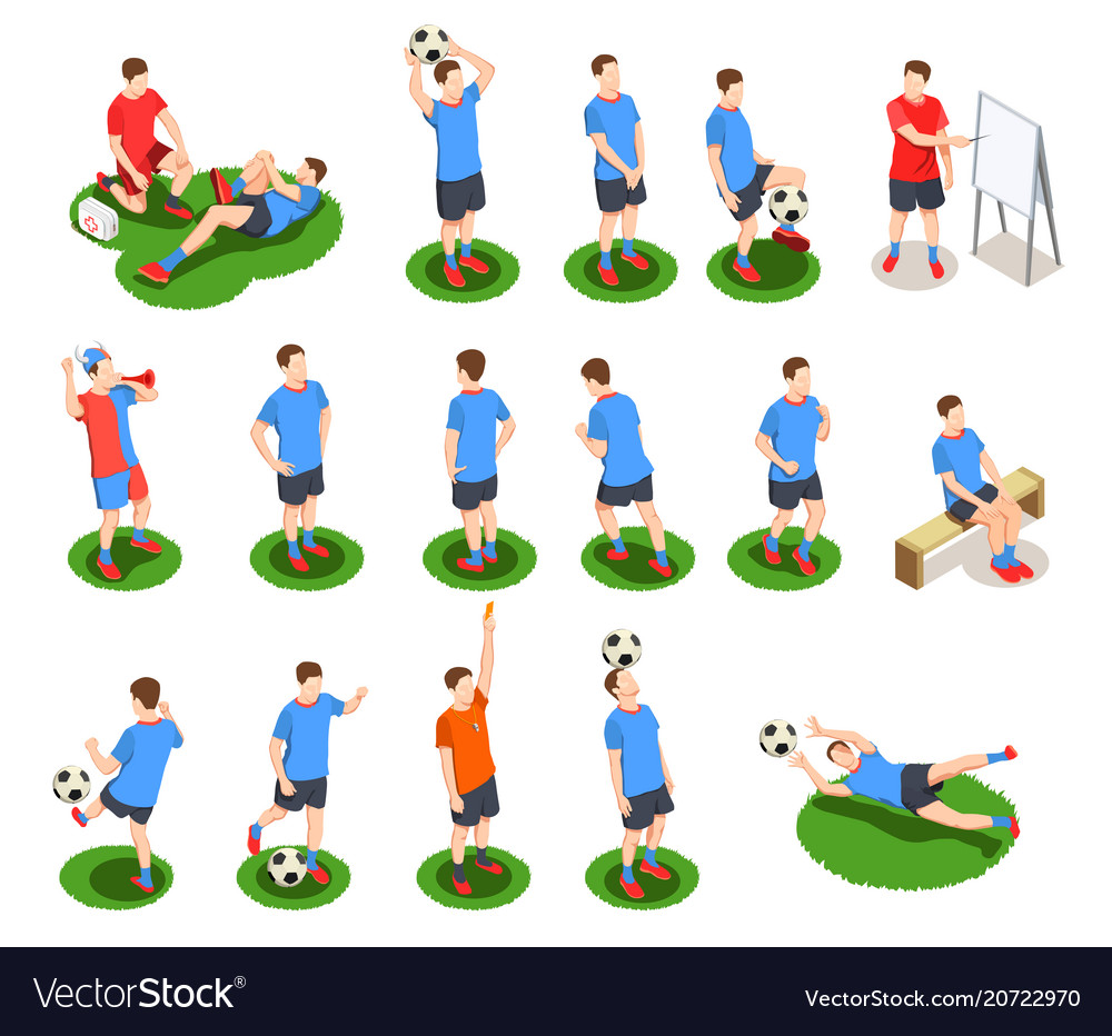 Soccer players icon set