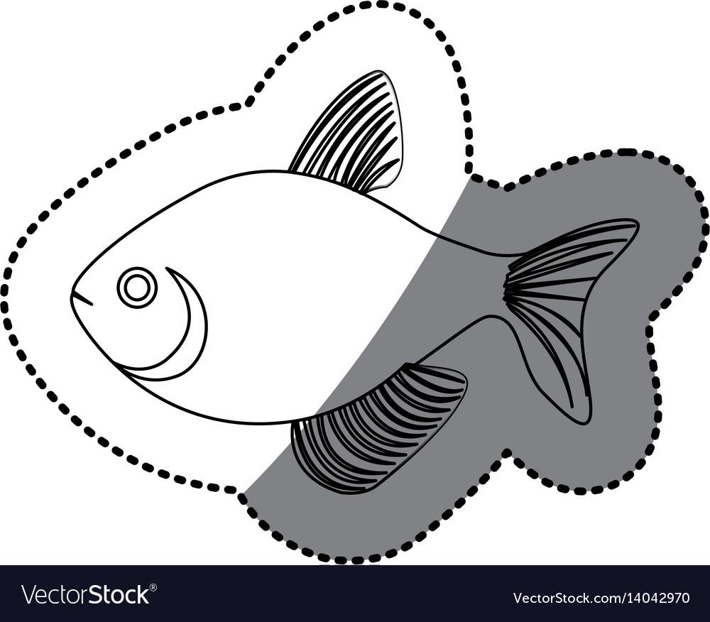 Sticker silhouette fish aquatic animal icon