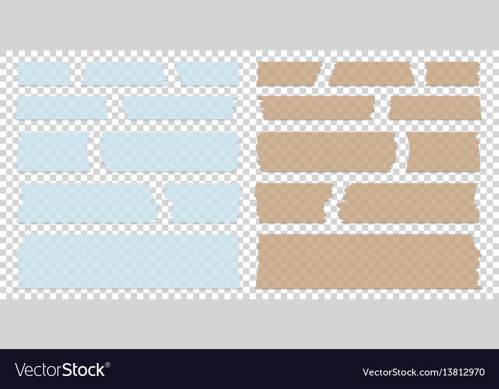 Sticky tape pieces of different size and colors on vector image