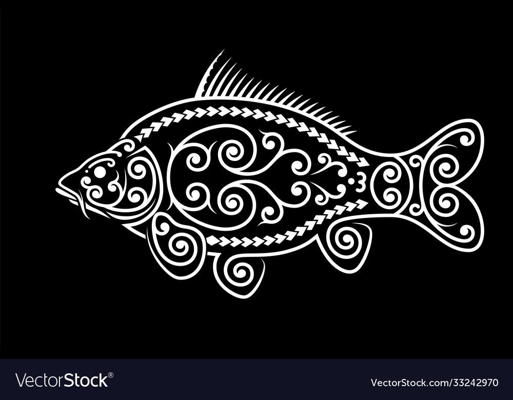 Stylized carp image maori ornament decorative