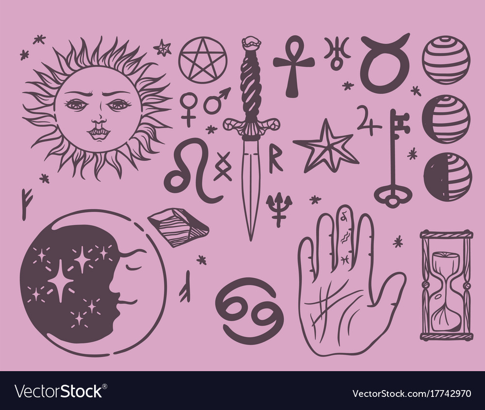 Trendy esoteric symbols sketch hand drawn