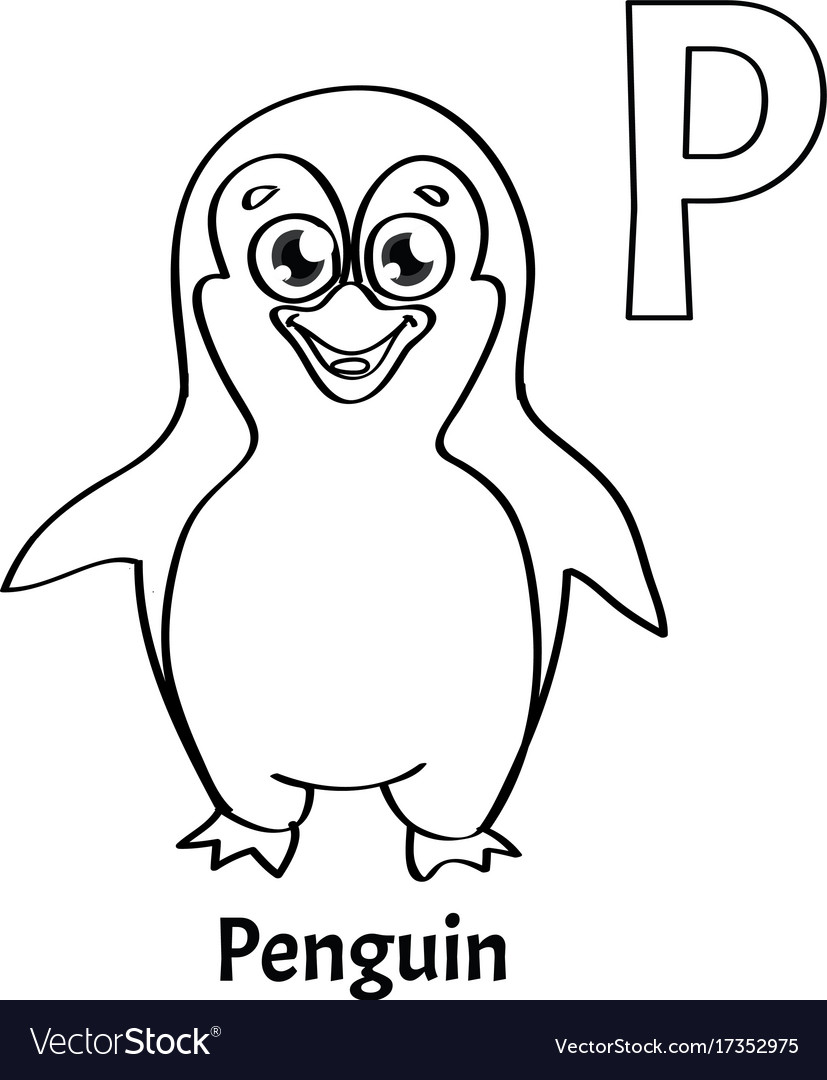 Alphabet letter p coloring page penguin Royalty Free Vector