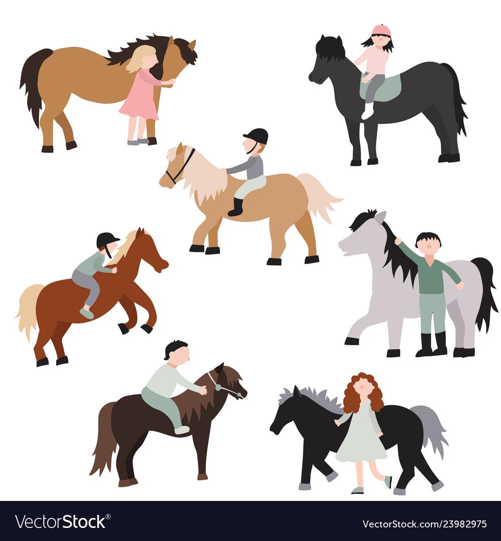Cartoon characters kids riding ponies set