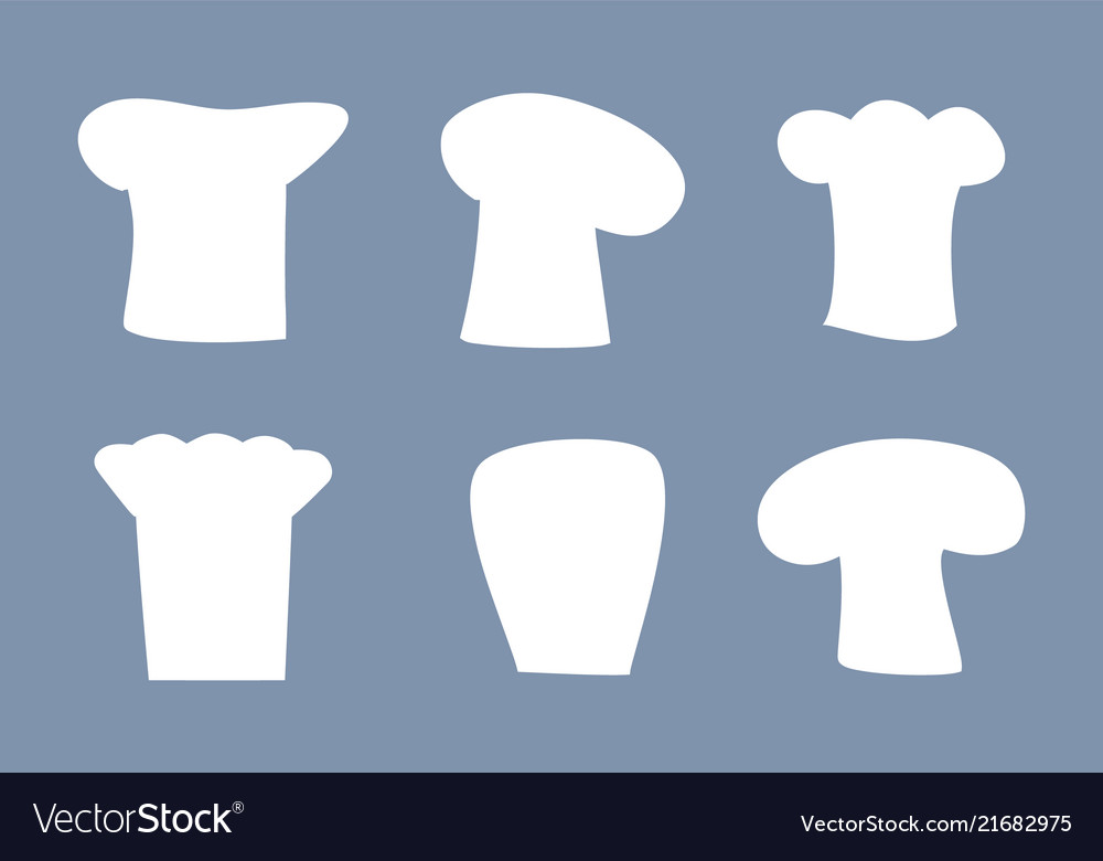 Chef hats white silhouettes set of all designs