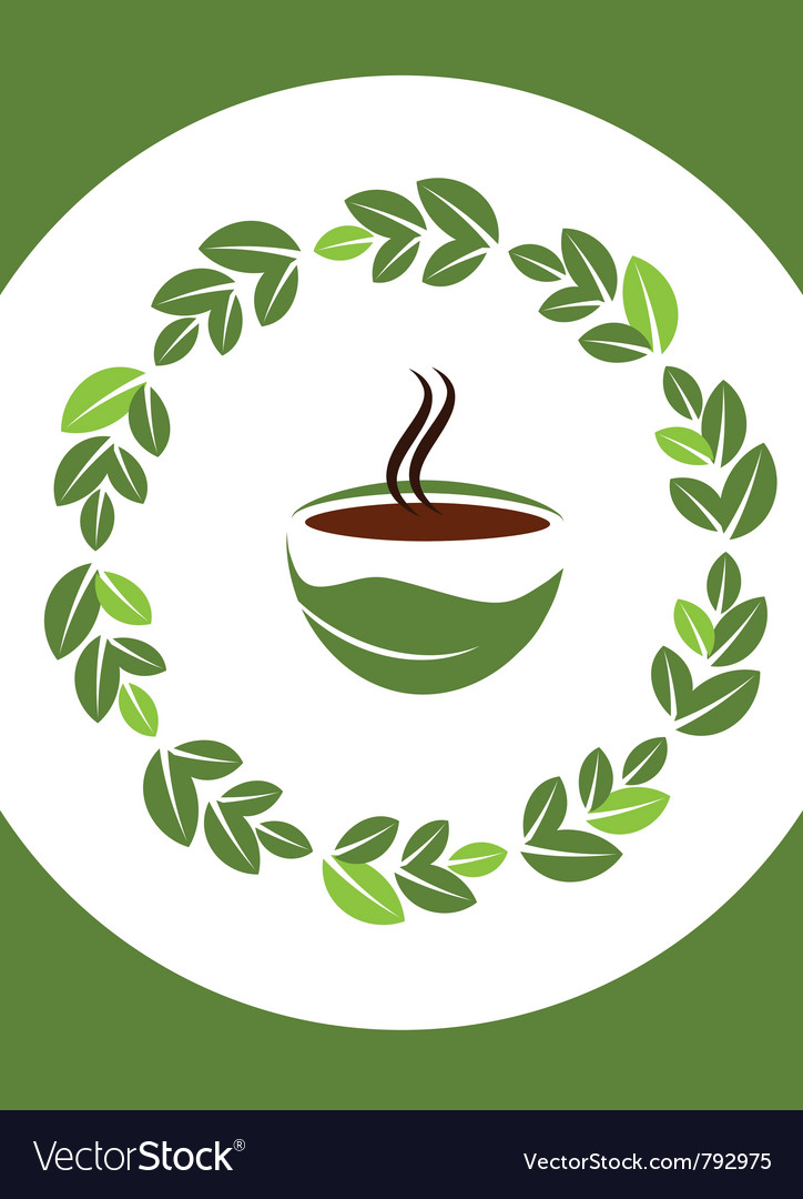 Cup of hot coffee with coffee leafs frame
