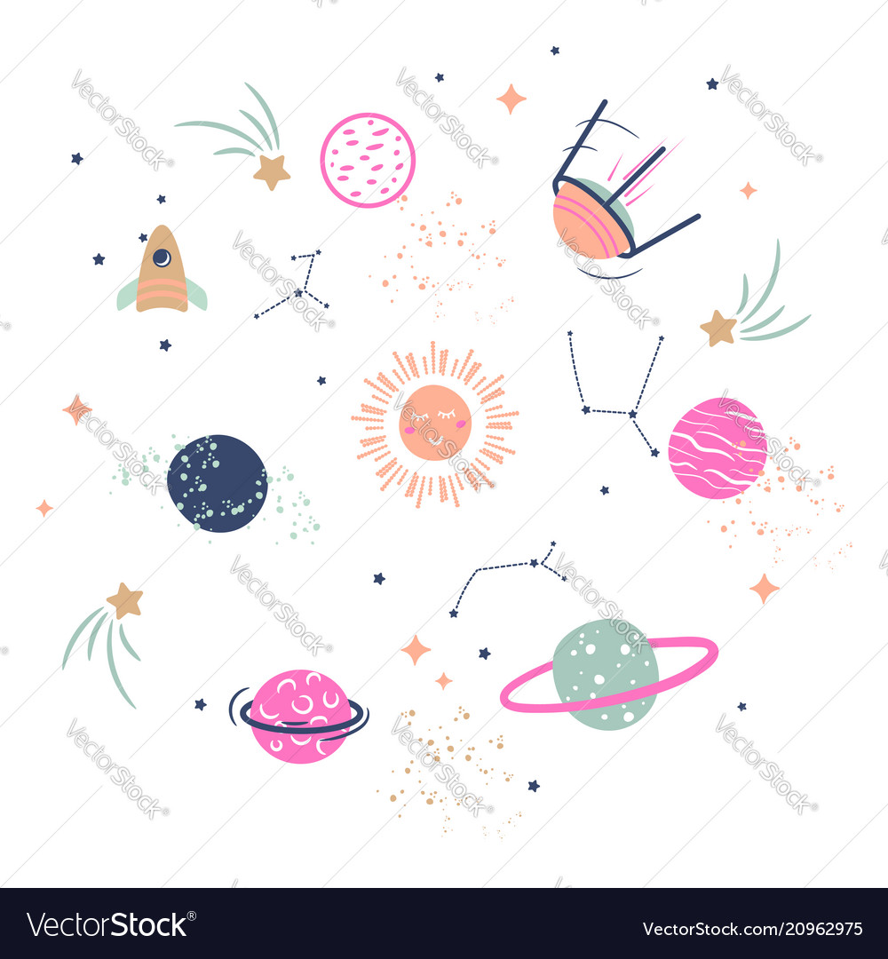 Galaxy vector. Cute planets clipart for