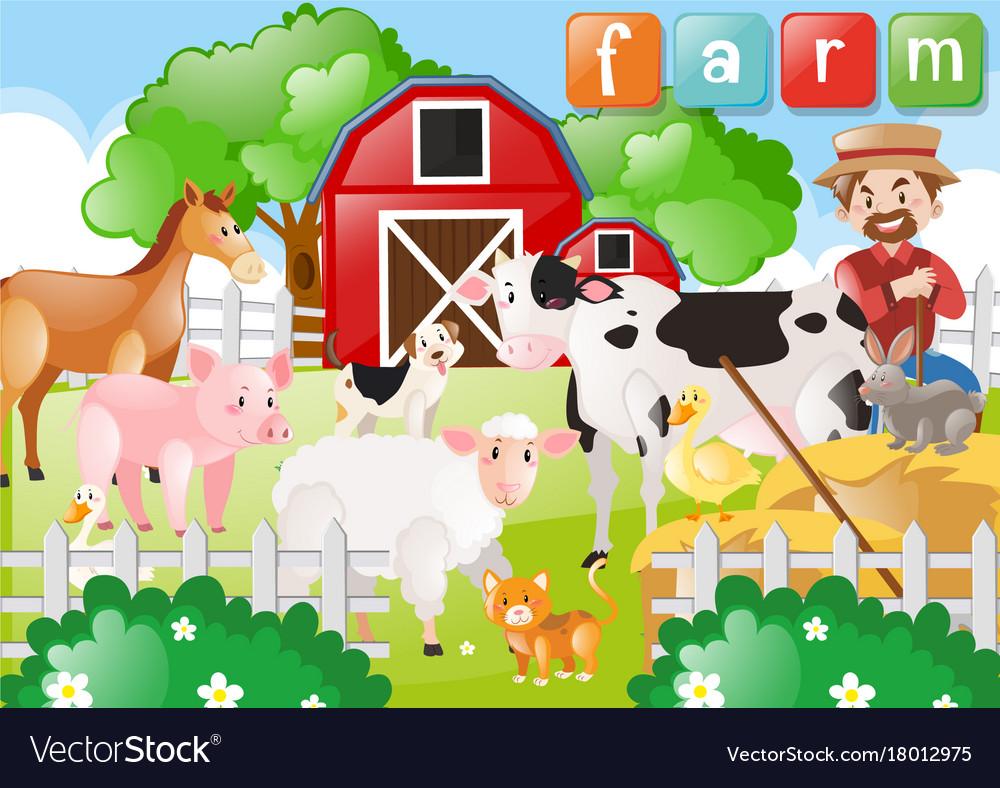 Farmer and farm animals on the farm Royalty Free Vector