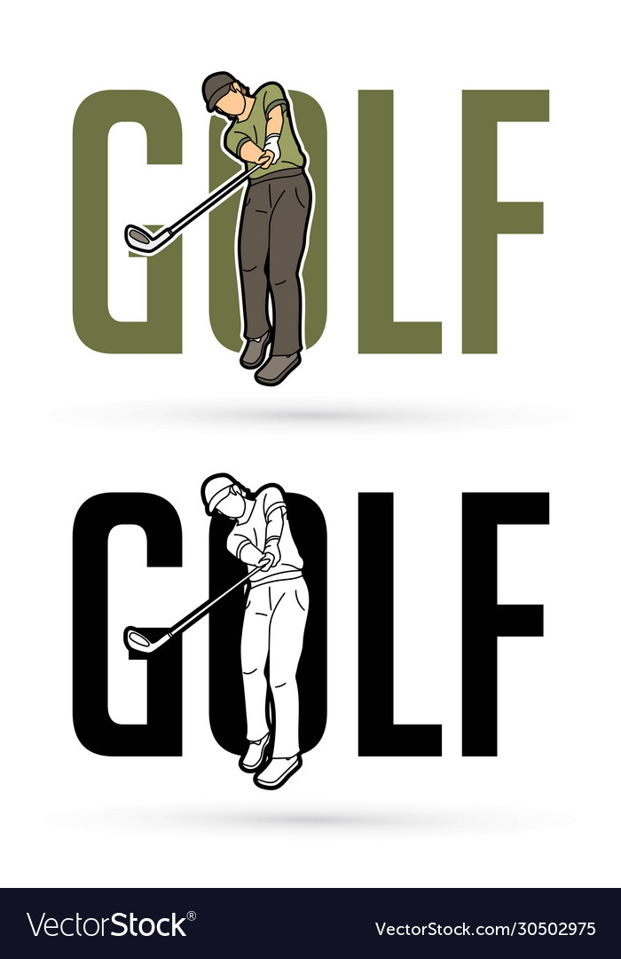 Font golf with golf player action cartoon sport