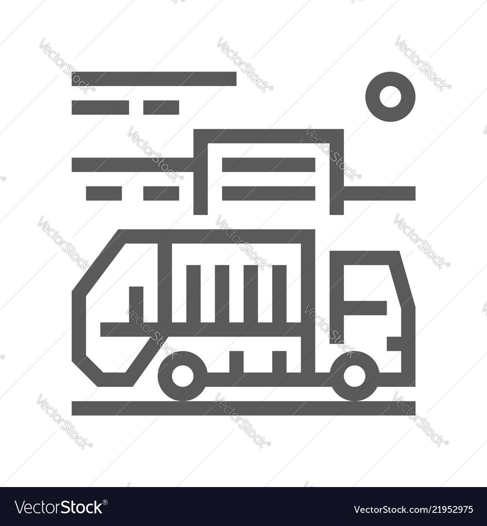 Garbage truck line icon