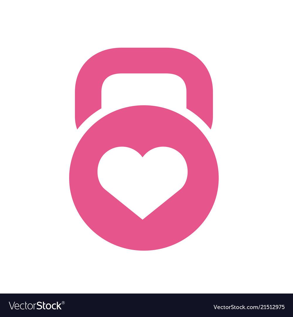 Kettlebell and heart symbol
