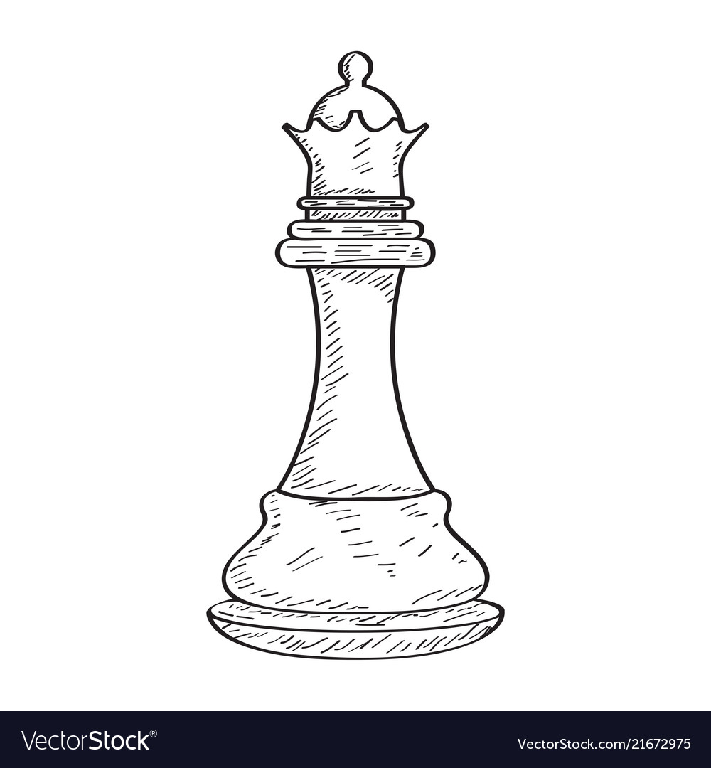 Retro sketch of a queen chess piece vector image