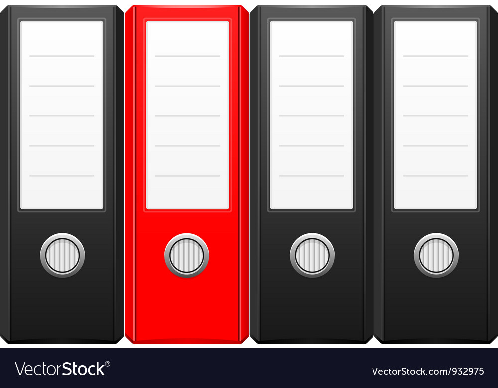Row of black binder folders with one red folder vector image