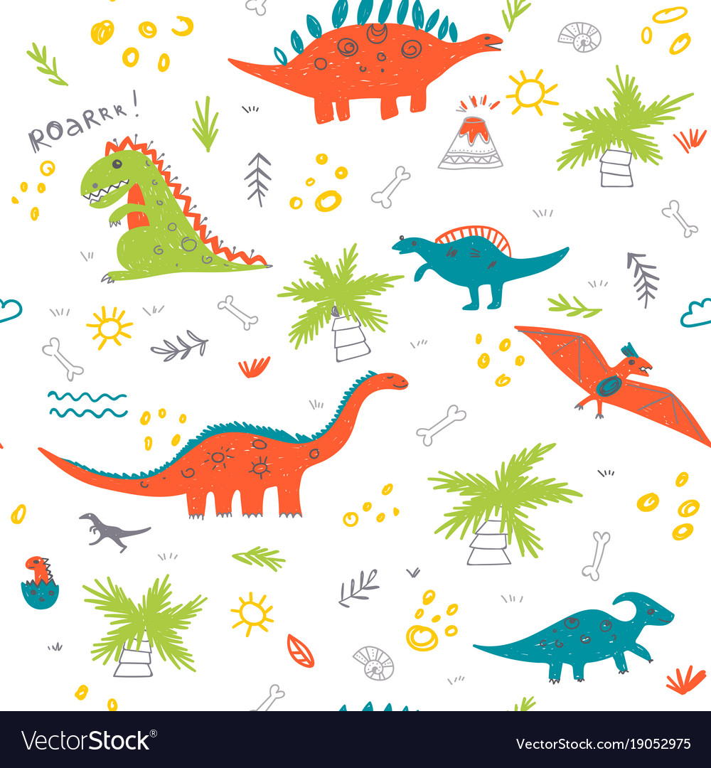 Seamless childish pattern with colorful dinosaurs