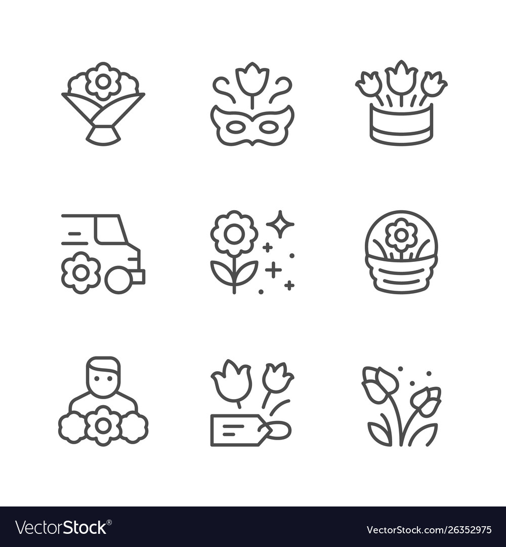 Set line icons flower