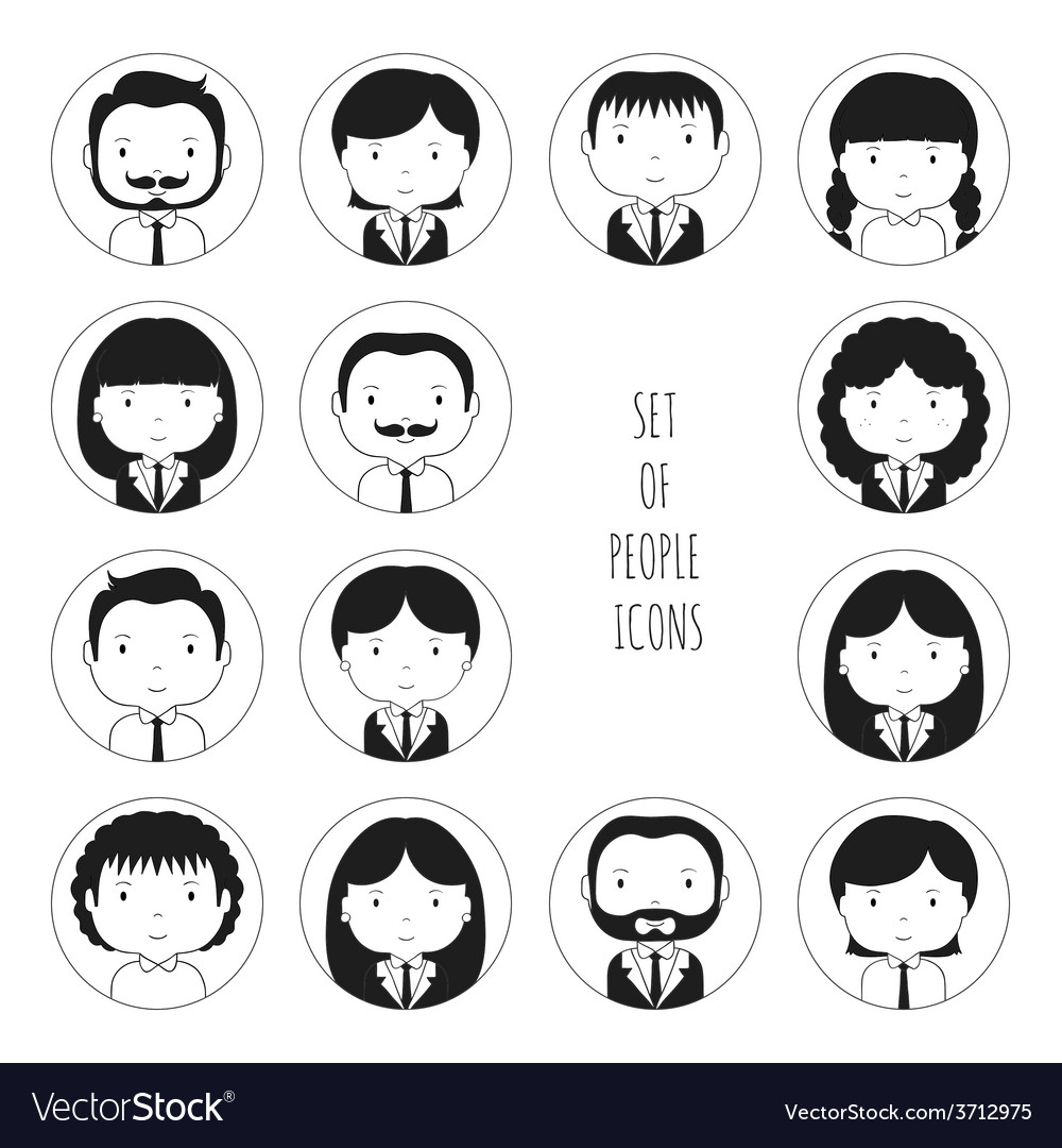 Set of monochrome silhouette office people icons