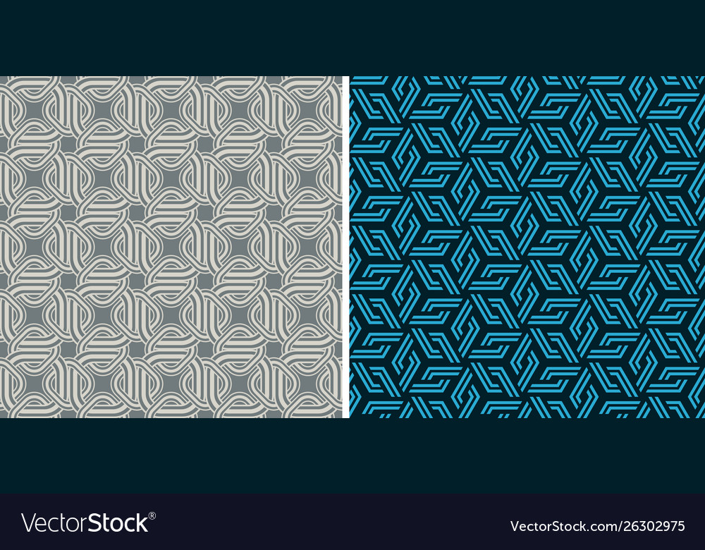 Set seamless patterns abstract geometric vector