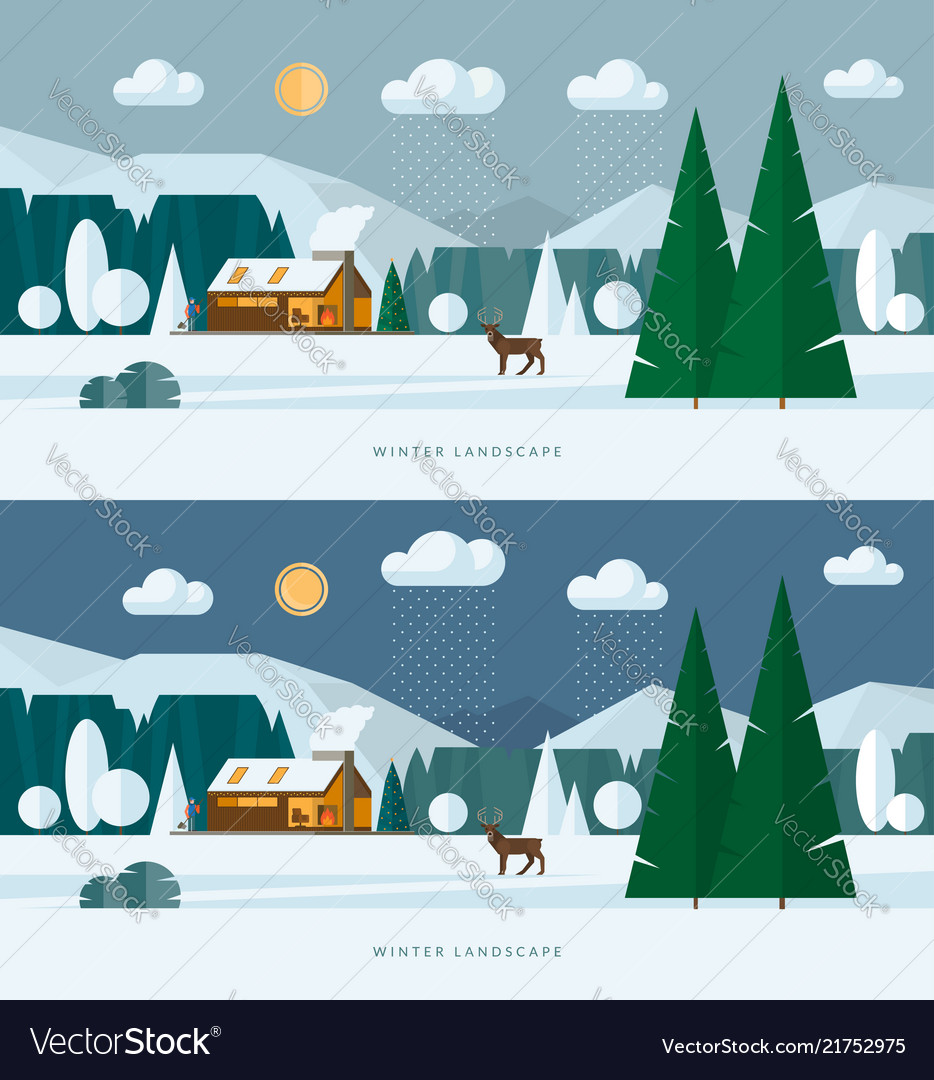 Winter landscape banners snowy village and nature