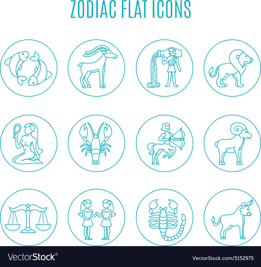 Zodiac Icon Line Set Royalty Free Vector Image