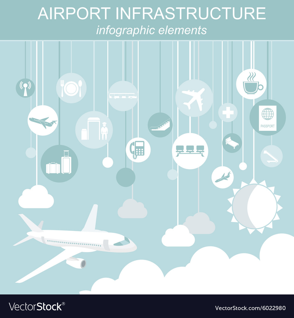 Airport air travel infographic with design