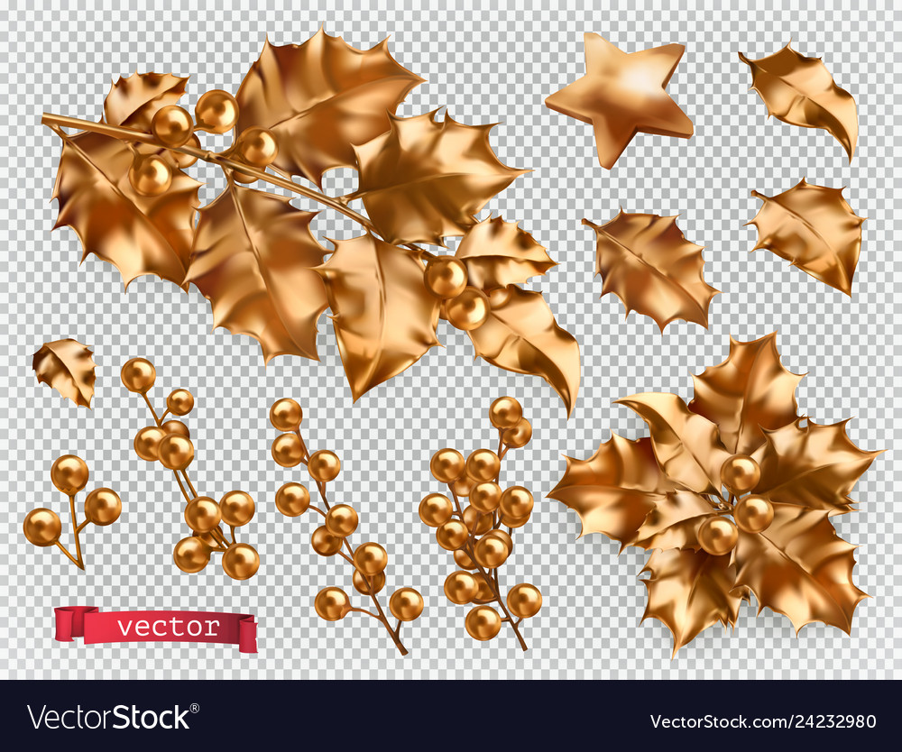 Christmas decorations golden holly 3d realistic