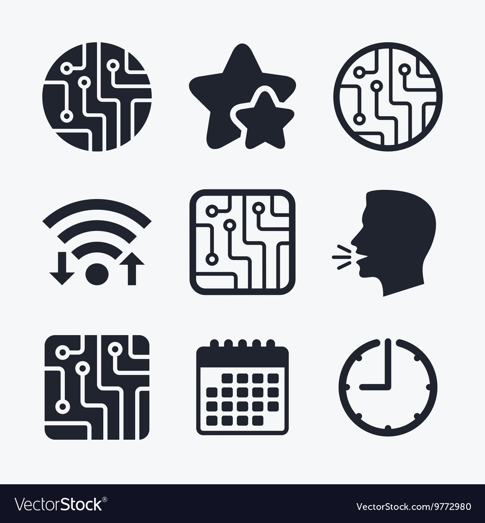 Circuit board signs Technology scheme icons Vector Image