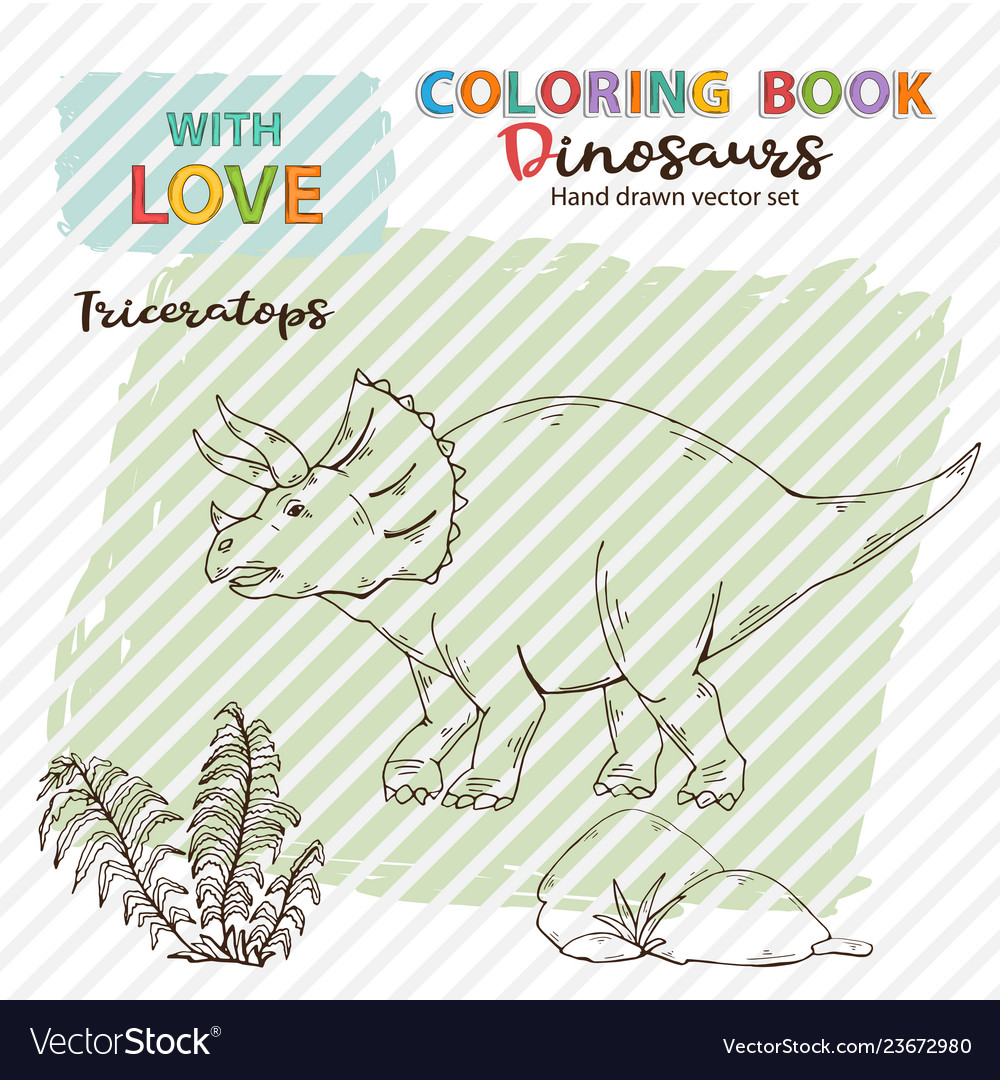 Coloring book triceratops with plant and stone