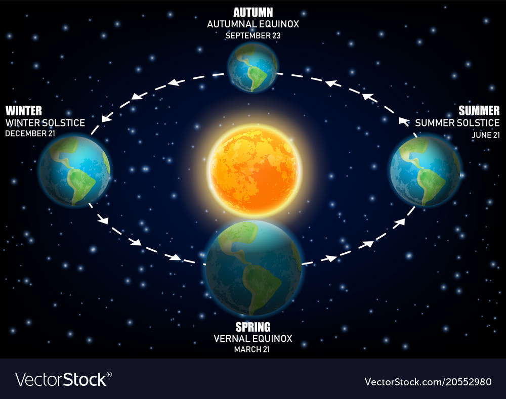 Diagram Earth Seasons Royalty Free Vector Image