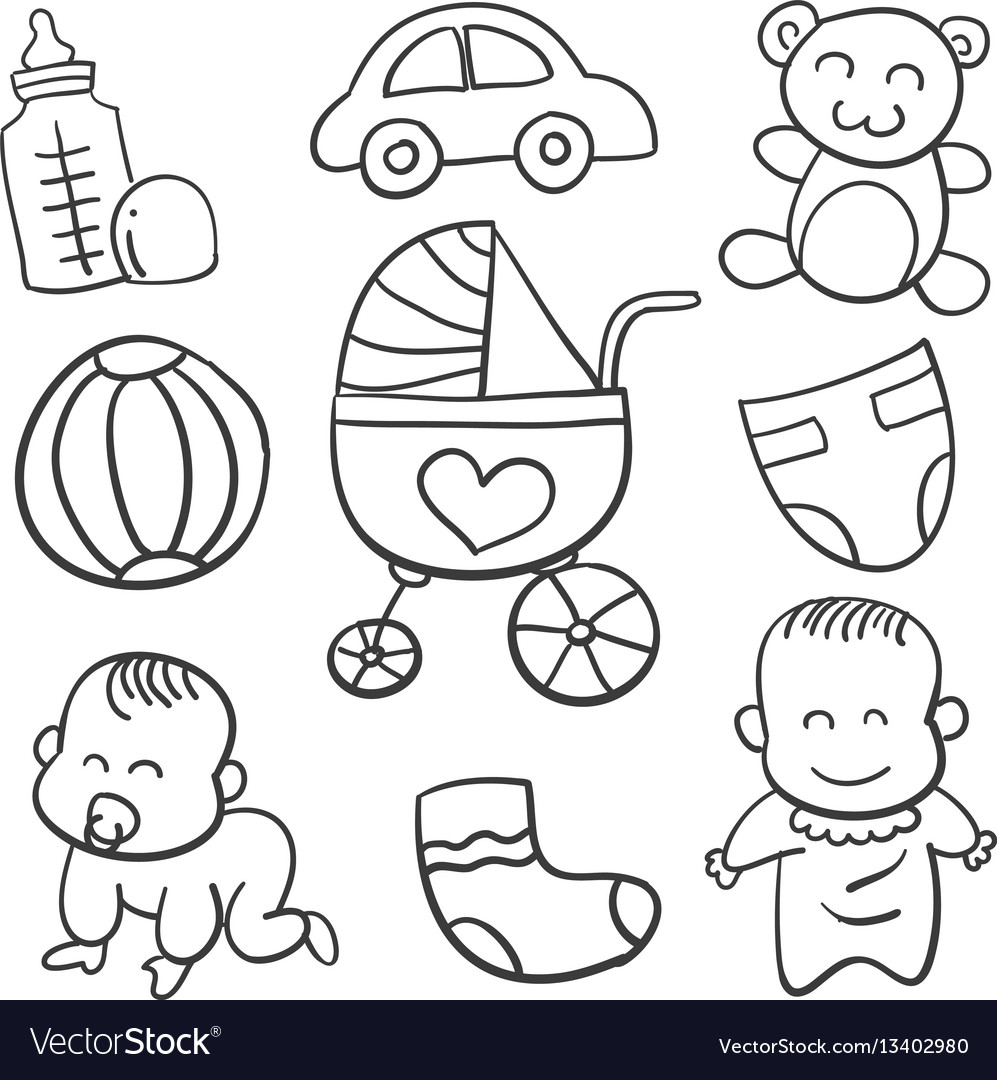 Doodle of baby object art vector image
