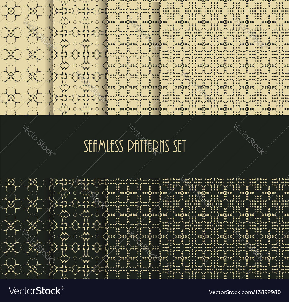 Dotted oriental motif seamless pattern collection