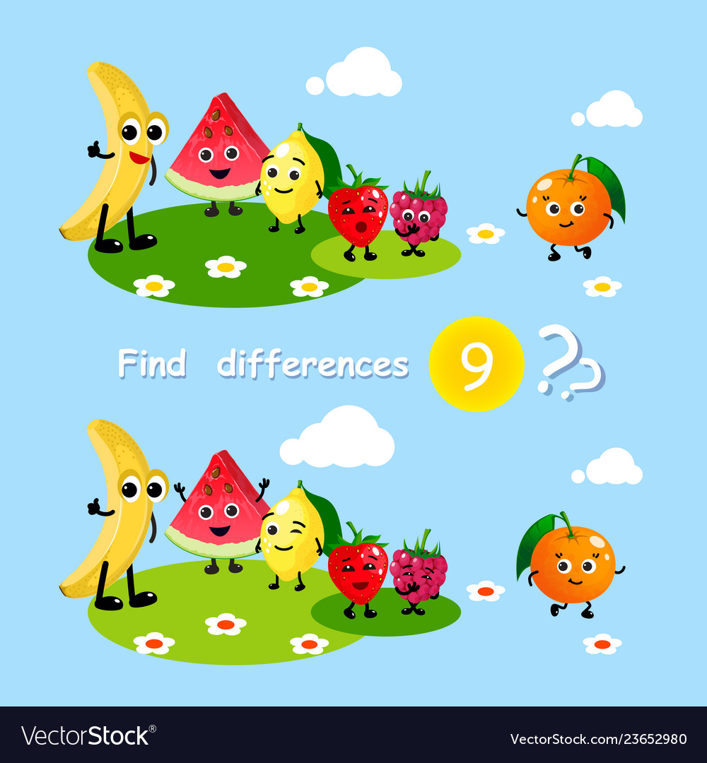 Finding differences children activity game happy