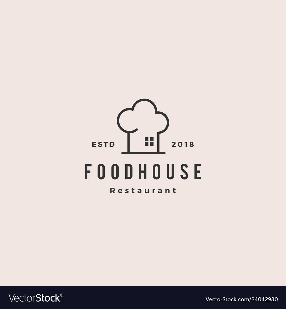 Food house chef hat kitchen restaurant cafe logo