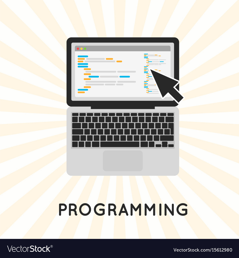 Laptop programming concept vector image