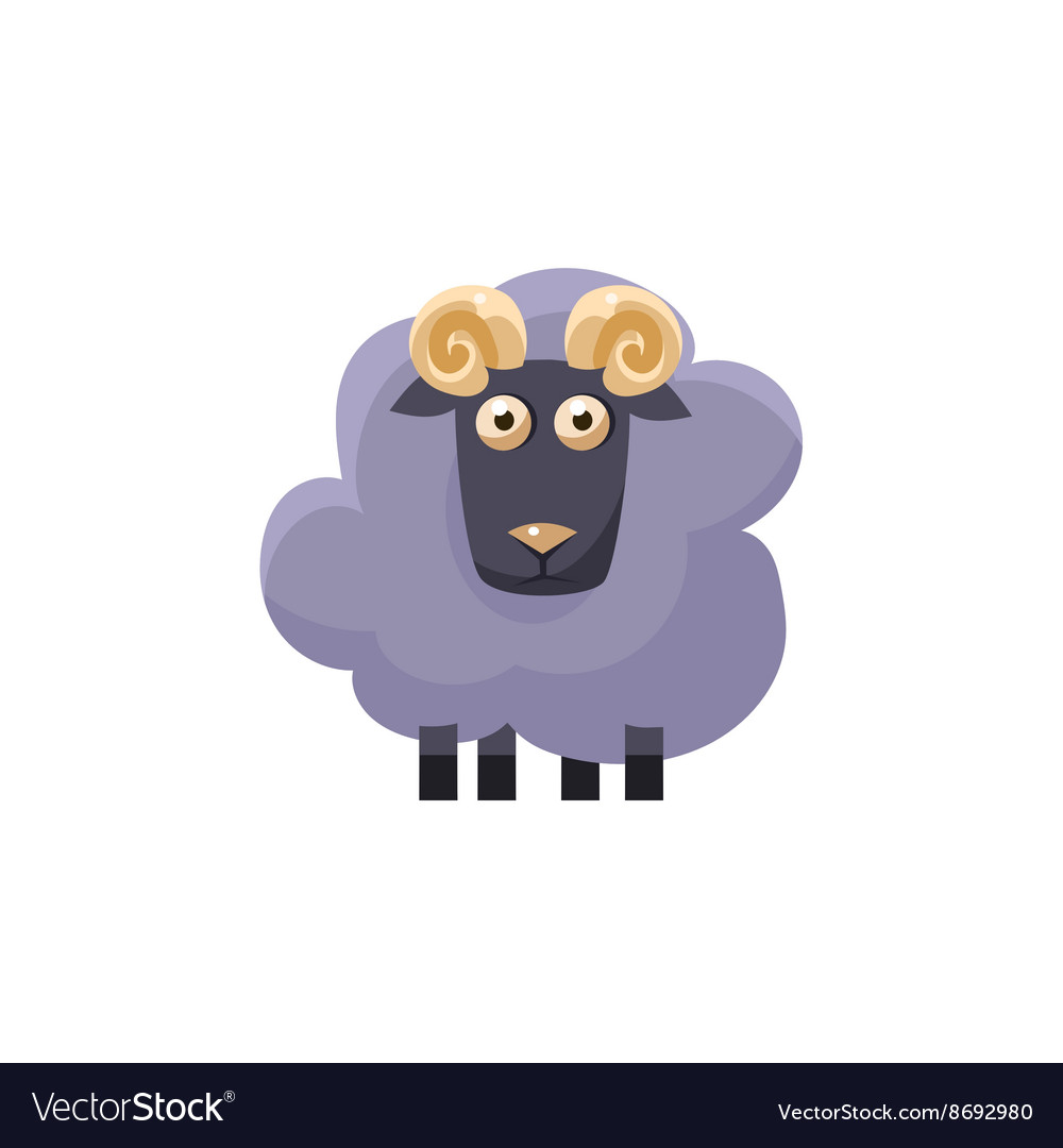 Male Sheep Simplified Cute vector image